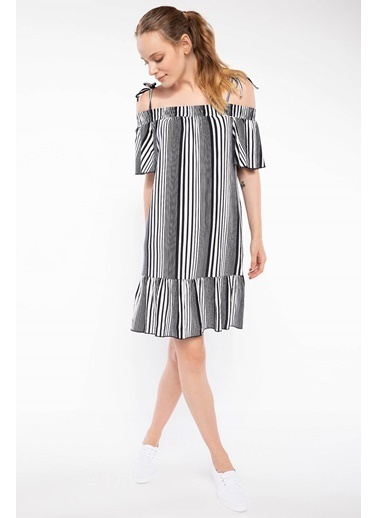 DeFacto Fırfır Detaylı Çizgili Elbise Lacivert